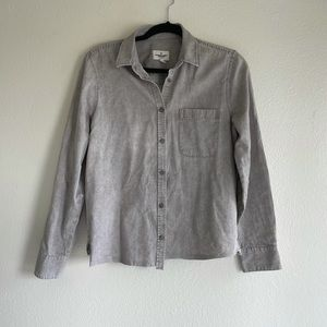 AE Gray Cotton Cropped Button Down